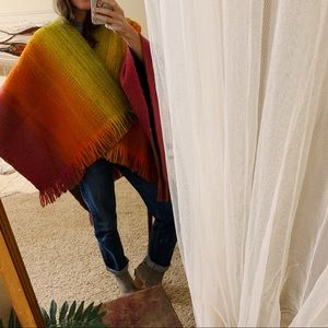 Sweaters - Rainbow fringe handmade wool vintage poncho